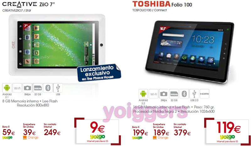 Creative ZiiO y Toshiba Folio 100 con Yoigo