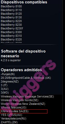 Xfera Móviles (Yoigo) en la web de BlackBerry