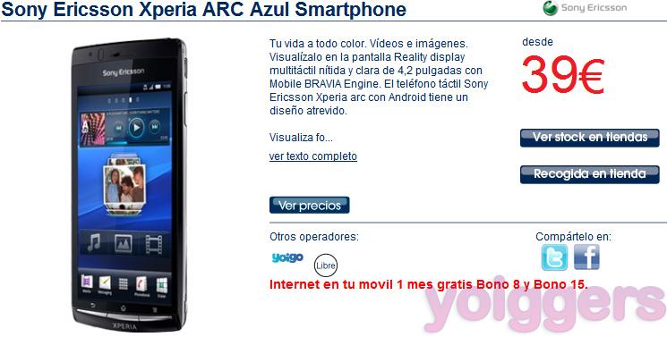 225e2456d Sony Ericsson Xperia Arc desde 19€ con Yoigo en The Phone House  (actualizado) - Yoiggers