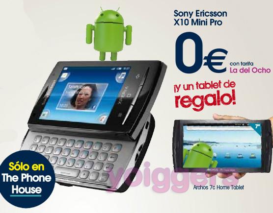 Archos 7c de regalo con Sony Ericsson X10 mini pro con yoigo en TPH