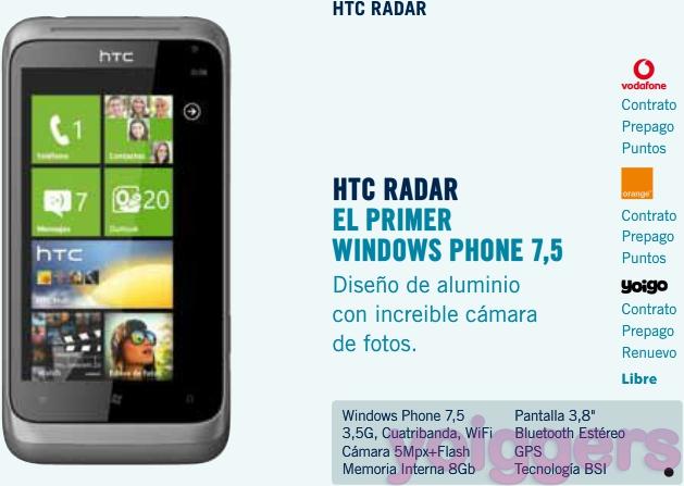 HTC Radar con Yoigo en The Phone House