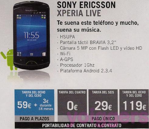 Sony Ericsson Xperia Live con Yoigo