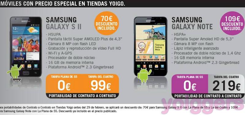 Samsung Galaxy Note y Galaxy S II en oferta en tiendas Yoigo en febrero