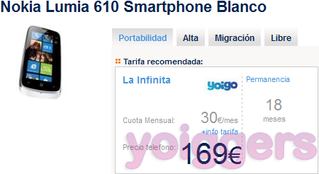 Nokia Lumia 610 con Yoigo en The Phone House