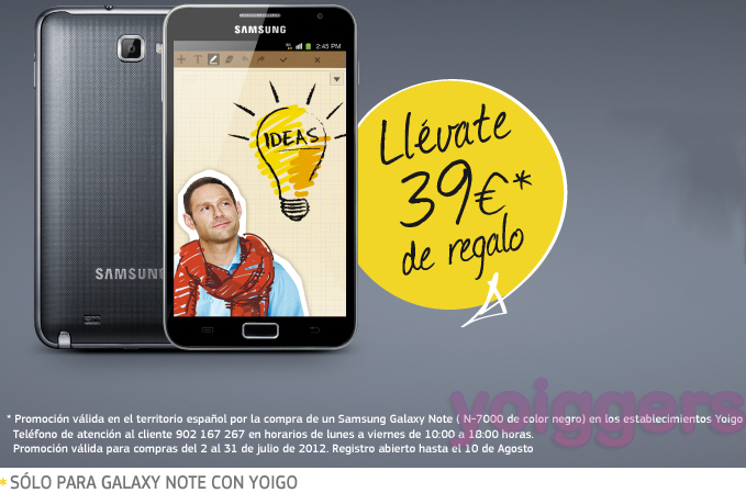 Promoción Samsung Galaxy Note con Yoigo
