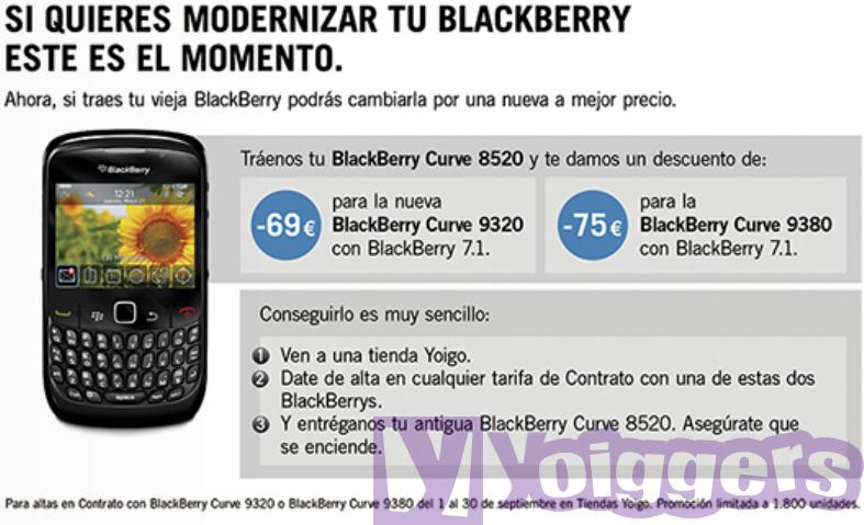 Promoción BlackBerry septiembre 2012 en Yoigo