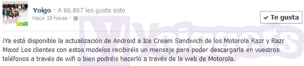 Android 4.0 para Motorola Razr Maxx de Yoigo