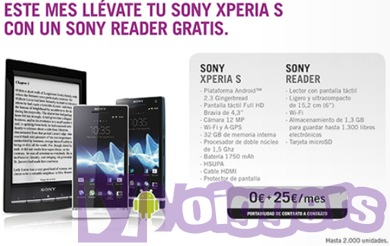 Promoción Sony Xperia S con Sony Reader de regalo con Yoigo