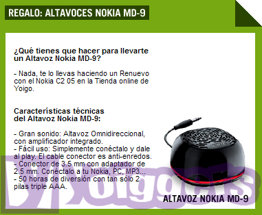 Nokia C2-05 con altavoz MD-9 de regalo con Yoigo
