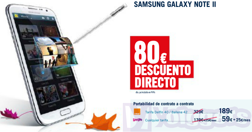 Samsung Galaxy Note II con Yoigo en Phone House