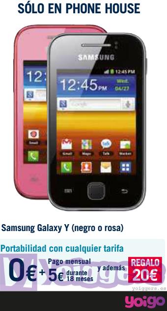 cdb6ff552eb Samsung Galaxy Y con Yoigo en Phone House - Yoiggers