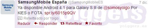 Actualización a Android 4.1 para el Samsung Galaxy S3 de Yoigo