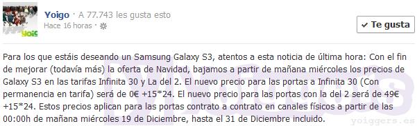 Samsung Galaxy S III con descuento en Yoigo