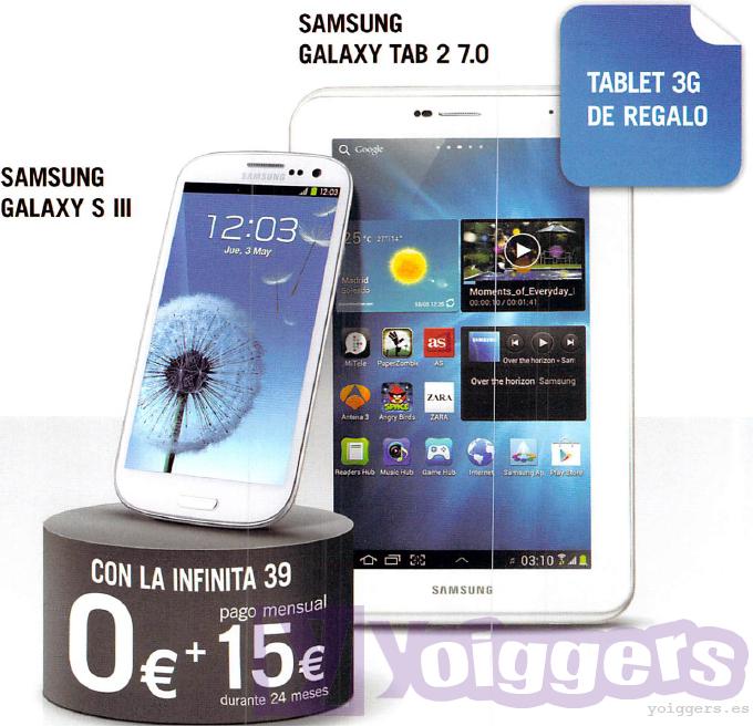 Samsung Galaxy S3 con Samsung Galaxy Tab2 7.0 de regalo con Yoigo