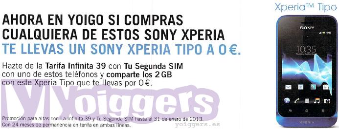 Sony Xperia Tipo de regalo con Yoigo