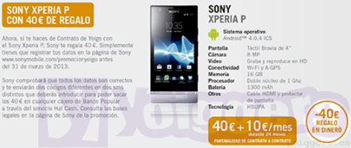 40€ de regalo con Sony Xperia P en Yoigo