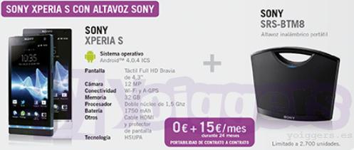 Altavoz Sony SRS-BTM8 de regalo con Sony Xperia S y Yoigo