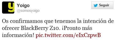 BlackBerry Z10 con Yoigo