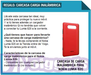 Carcasa inalambrica gratis para Nokia Lumia 820 en Yoigo