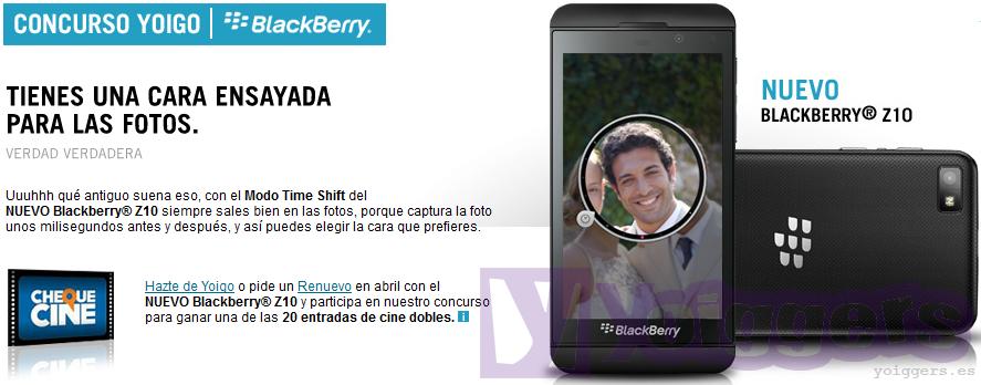 Concurso BlackBerry Z10 de YoigoConcurso BlackBerry Z10 de Yoigo