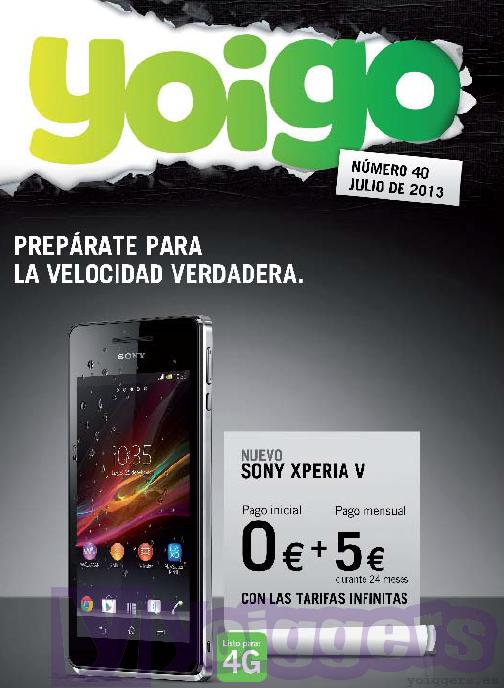 Sony Xperia V en revista Yoigo para julio 2013