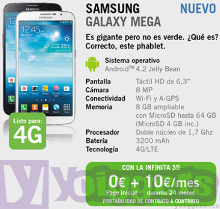 Samsung Galaxy Mega 6.3 con Yoigo