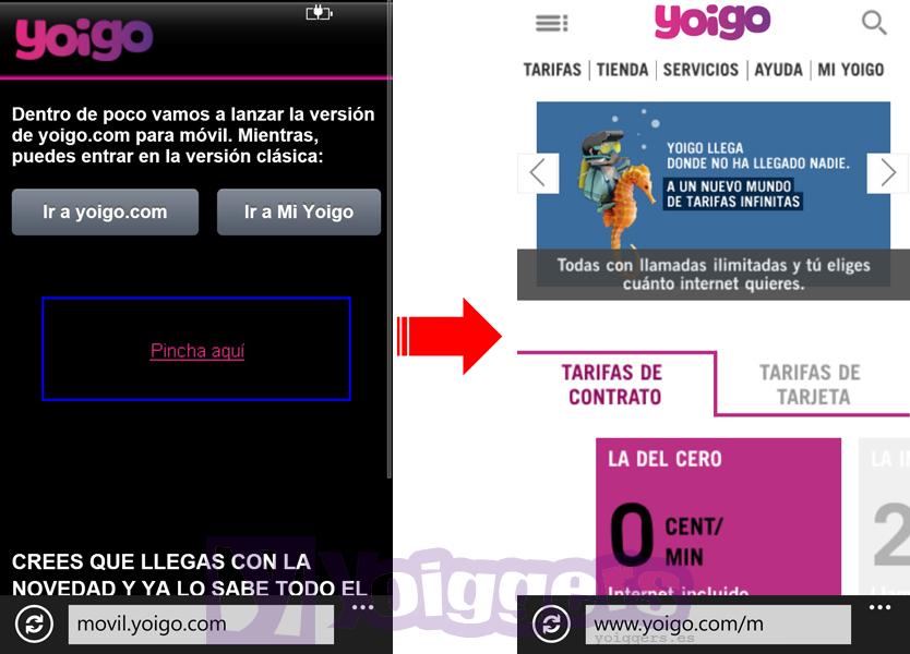 Nuevo portal móvil Yoigo