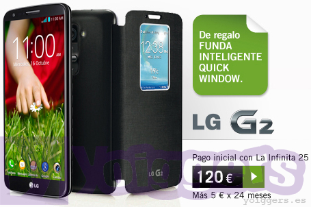 Funda Quick Window de regalo con LG G2 y Yoigo