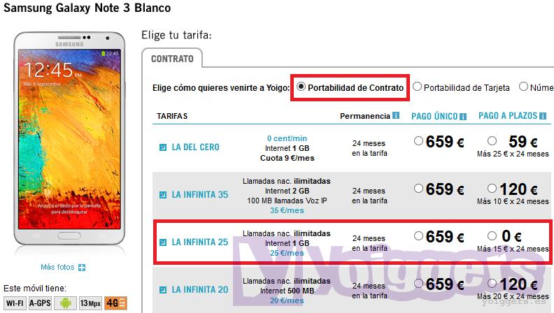 Samsung Galaxy Note 3 más barato con Yoigo