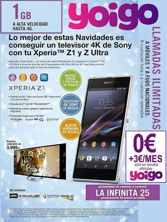 Oferta Sony Xperia Z1 Yoigo