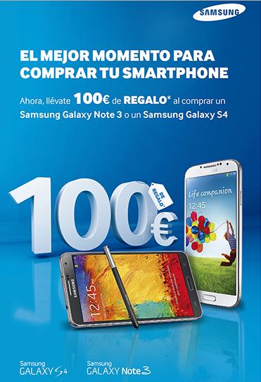 100 euros de descuento Samsung Galaxy S 4 y Note 3