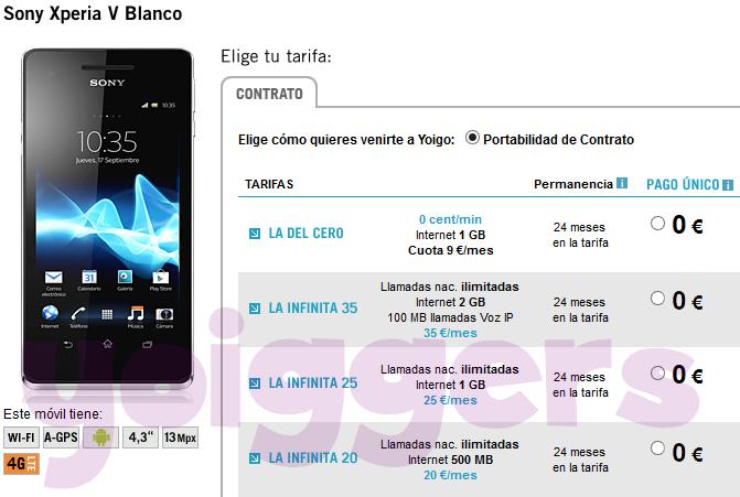 Sony Xperia V gratis con Yoigo en enero 2014