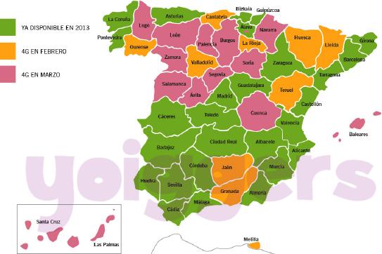 Cobertura 4G Yoigo en España