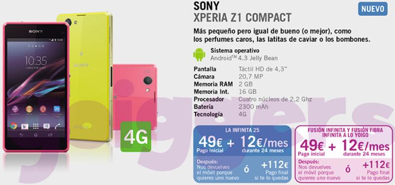 Sony Xperia Z1 Compact con Yoigo